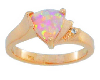 14Kt Rose Gold Pink Opal & Diamond Trillion Ring