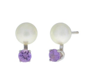 Alexandrite & White Pearl Stud Earrings .925 Sterling Silver Rhodium Finish