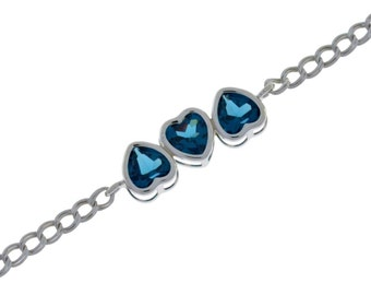 3 Ct London Blue Topaz Heart Bezel Bracelet .925 Sterling Silver