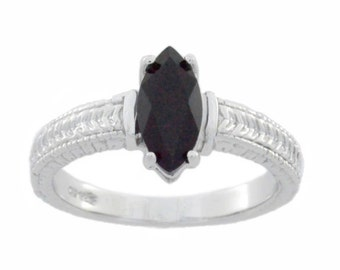 1 Ct Black Onyx Marquise Ring .925 Sterling Silver