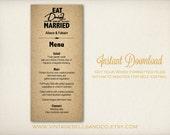 DIY Printable Wedding Menu Template, Easy DIY Printable, Microsoft Word Menu Template, Instant Download, Eat Drink Be Married Menu (M1)