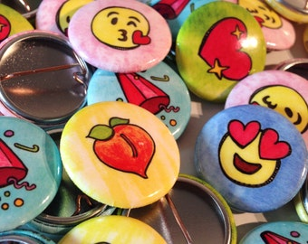 "SET OF FIVE painted emoji 1"" buttons"