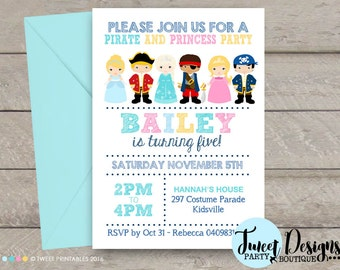 PIRATE and PRINCESS Party Invitation, Pirate Princess Party, Printable, Girl and Boy Invitation, Pirate Princess Invite, Princess and Pirate