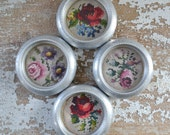 Vintage Cross Stitched Flower Coasters - Metal Aluminum Set