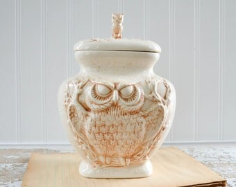 Vintage Owl Cookie Jar Canister - Creamy White Ceramic Kitchen Storage