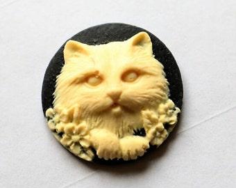 12 pcs of resin cat cameo 25mm round-RC0431-6-cream on black