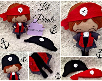 Felt Pirate Doll - Handmade Made Cute Pirate Collectable - Made To Order