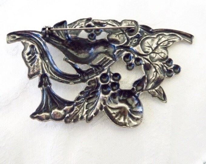 Antique Art Nouveau Brooch, Sterling Bird Pin, Flowers Berries and Leaves, Nature Jewelry