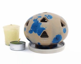 Small Crystal Glazed Ceramic Candle Holder for Tealights in Blue and Amber
