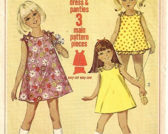 "A Sleeveless, Collarless A-Line Shoulder-Tied Dress in 2 Lengths & Panties Sewing Pattern: Children's Size 2, Breast 21"" • Simplicity 6990"