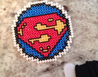 Superman Crossed Stitched Pin