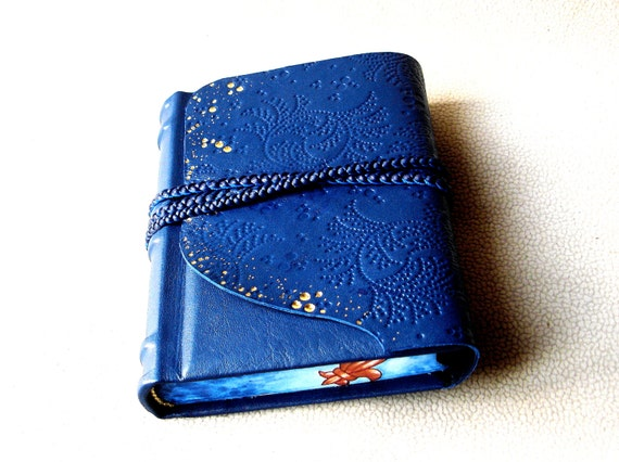 Leather Journal, Handbound Blank Book, Blue Leather Journal, Sketchbook, Braided Leather Strap, Painted Edges, Ready to Ship