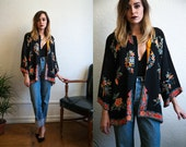 R E S E R V E D Vintage 1940s Black Rayon Silk Crepe and Floral Kimono One Size