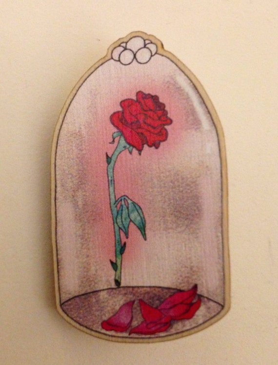 Beauty and the Beast Enchanted Rose Brooch
