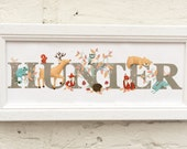 Woodland Animal Door Plaque - Children's / Kids / name sign / Illustration