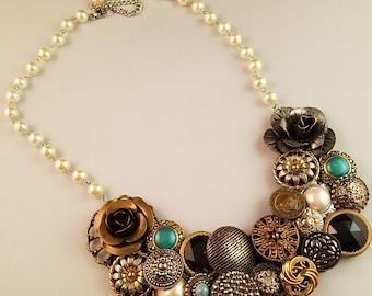 Vintage Button Cluster Necklace - Vintage Button Statement Necklace