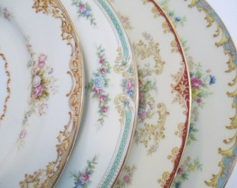 Vintage Mismatched China Dinner Plates for Dinner Party,Weddings,Bridal Luncheon,Hostess Gift,Bridesmaid Gift,-Set of 4