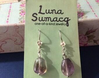 Fluorite + silver earrings