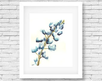 Bluebonnet Flower Print - Shabby chic- Cottage decor