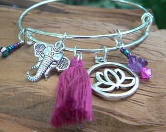 Boho bangle bracelet yoga bracelet zen bracelet PINK tassel bracelet spiritual bracelet charm bracelet tribal fusion hippie festival gypsy