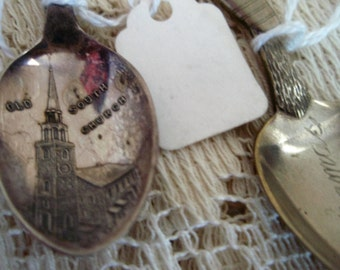 Souvenir Spoons, Collectible spoons from Old South Church and St Thomas,  Two Vintage collector spoons, travel souvenir spoons