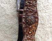 Ladies Brown Leather Belt Size M  /  Vintage Nail Head Belt /  Lak & Shore Drive Ladies Belt  /  Free Shipping USA  /  Cheapvintagefashion