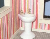 HOT SUMMER SALE 30% off Miniature dollhouse vintage porcelain bathroom sink