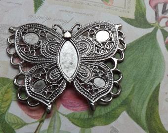 Butterfly pendant , charm , metal butterfly , silver butterfly , silver pendant