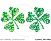 Lucky four leaves clover, green shamrock leaf, St. Patrick's day, digital clip art, Irish symbol, vector, SVG, EPS, instant download