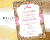 Baby Shower Invitation - Princess Tiara for Girl and Gold Glitter- DIY Printable - Pink