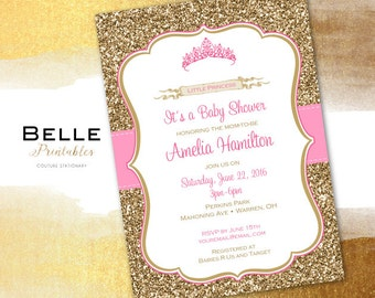 Baby Shower Invitation - Princess Tiara for Girl and Gold Glitter- DIY Printable - Pink