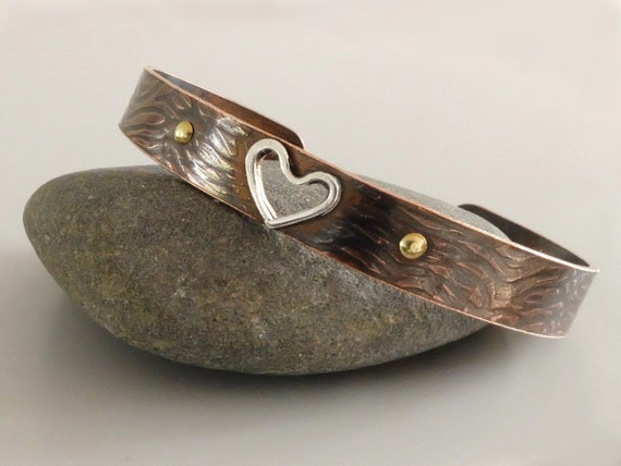 Copper Bangle with Silver Cut Out Heart, Mixed Metal Bangle,  Seventh Anniversary, Artisan Bangle, Metalwork Jewellery, Metalsmith Jewelry