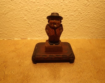 Wood Hand Carved Man With Cigar or Cigarette