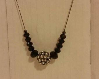 Vintage Necklace - Disco ball rhinestone necklace NYE necklace