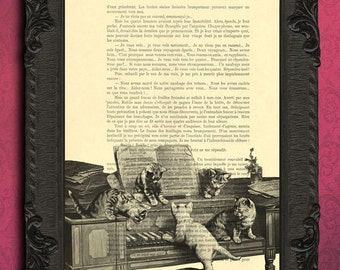 cat print, three little kittens poster, cats on a piano illustration on book page, cat home decor, kitties art