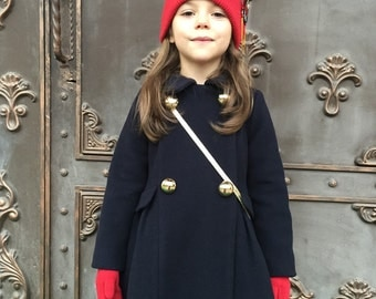 Girls wool coat autumn winter ivory soft special occasion baby infant  birthday christmas fall elegant warm navy light blue red wedding
