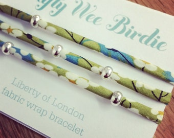 Green Liberty Fabric wrap bracelet