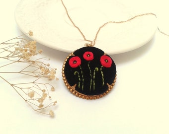 Poppies at  night, hand embroidered, pendant necklace, black velvet, red poppy, raw brass.