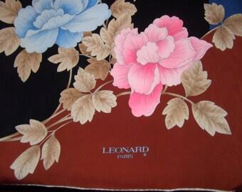 Leonard Paris vintage scarf, roses print in blue and pink
