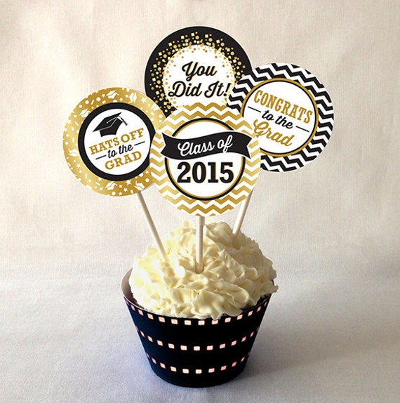 Graduation Cupcake Toppers PRINTABLE Black by ...
