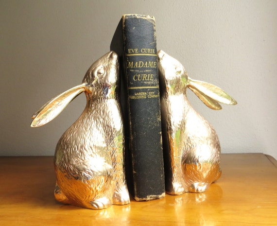 Vintage brass rabbit bookends brass bookends gold bunny book for Decorative crafts inc brass
