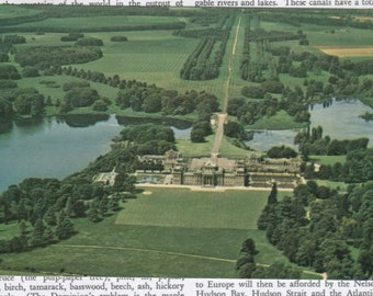 Vintage Postcard England Blenheim Palace From The Air Looking North Great Britain Blank Unused FREE SHIPPING USA