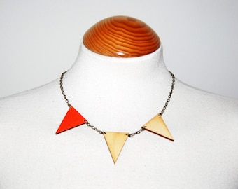 NECKLACE Triangles Charm / Wooden Triangles / Necklace Handmade