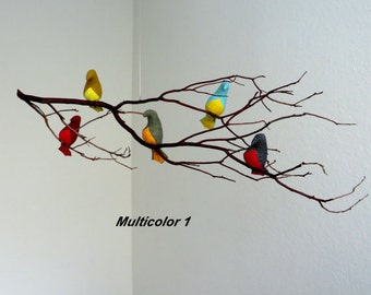 Bird Mobile - Multicolor or White Fabric Birds  on One Natural Branch - Made to order