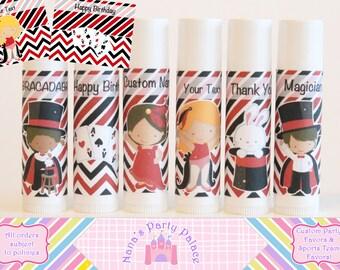 Magic Lip Balm - Magic Birthday Party Favors - Set of 6 - Free Personalization - Kids Magic Party - Magician Favors - Magic Theme