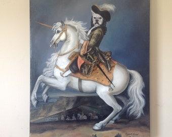 "Frenchie Napoleon on Horseback, Original Oil Painting, 11x14"" French Bulldog Portrait"