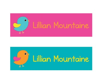 80 Custom Iron on Clothing Labels Personalized Iron on Clothes Tags Daycare Name Labels School Camps - Uncut - Girl Birds 004