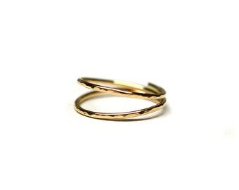 Gold double midi ring