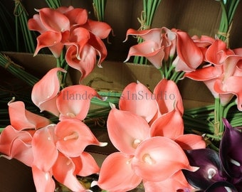 Coral Calla Lily Bouquet Real Touch Callas Lilies Bouquet 10 Stems For Wedding Bridal Bridesmaids Corsage DIY Flowers