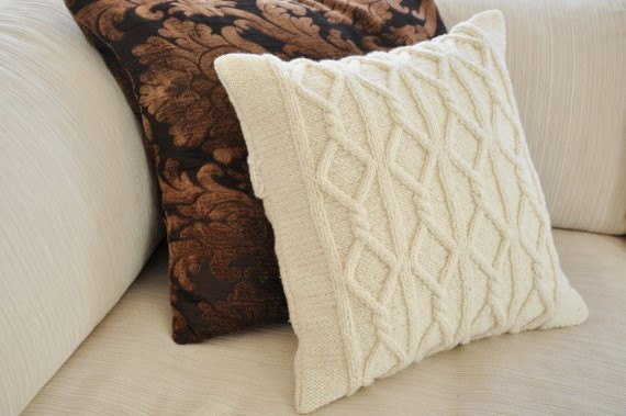 off white repurposed cable knit throw pillow cover knitted. Black Bedroom Furniture Sets. Home Design Ideas